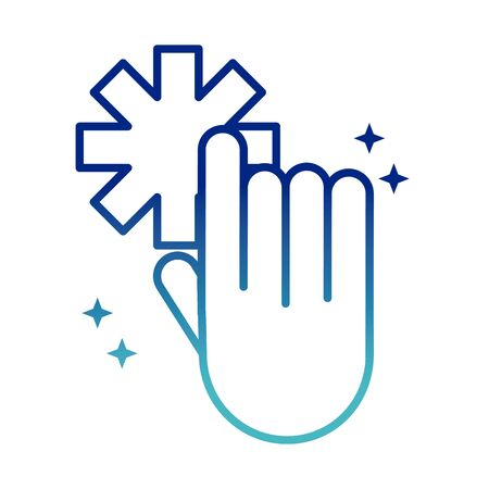 online health, hand click medical symbol covid 19 pandemic gradient line icon