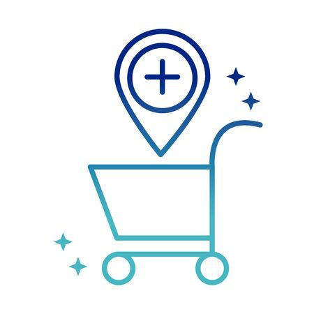 online health, shopping cart pointer location medical vector illustration covid 19 pandemic gradient line icon
