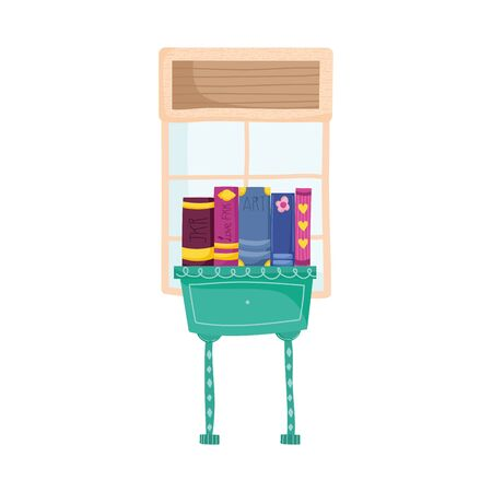 book day, side table with stack books window Illustration