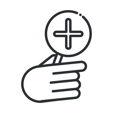 online health, clicking medical assistance vector illustration covid 19 pandemic line icon 向量圖像