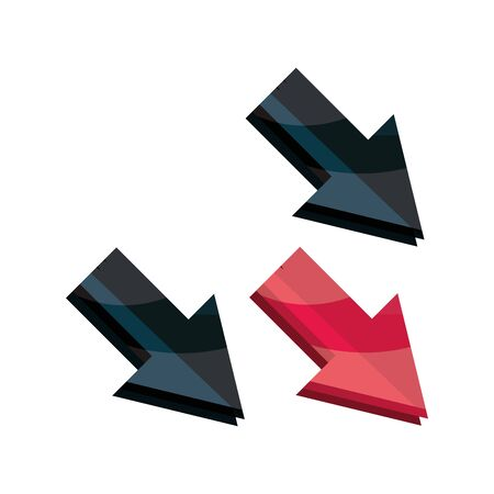 down arrows economy stock market crash isolated icon