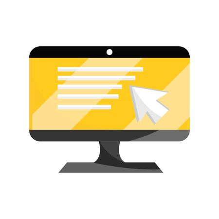 computer monitor technology online education vector illustration isolated icon shadow 向量圖像