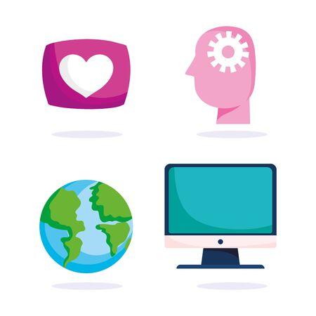 education online, head think computer map world icons, coronavirus pandemic