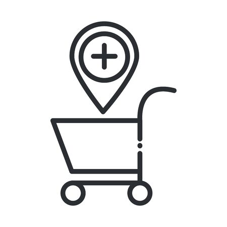 online health, shopping cart pointer location medical vector illustration covid 19 pandemic line icon