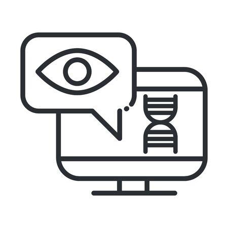 online health, computer diagnostic medical care vector illustration covid 19 pandemic line icon Ilustração