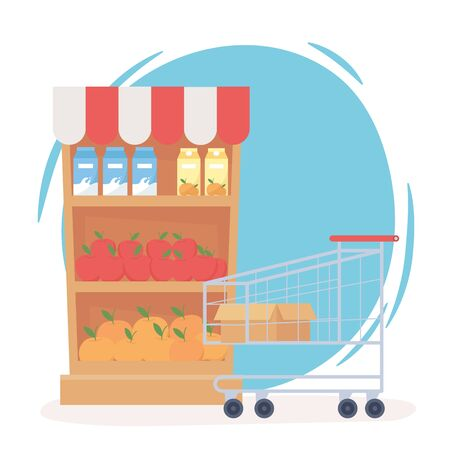 shelf with food and cart shopping hoarding excess purchase vector illustration