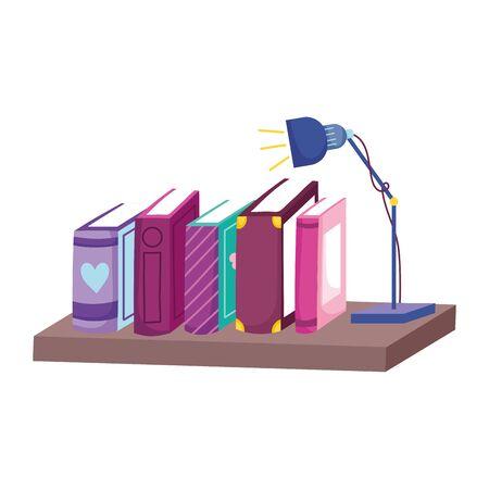row of books light lamp in shelf, book day vector illustration