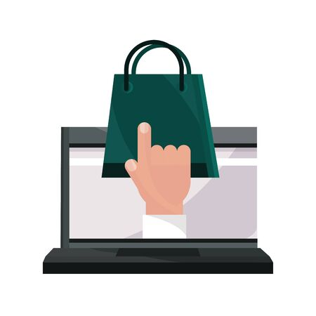 payments online, laptop shopping bag clicking vector illustration flat icon shadow