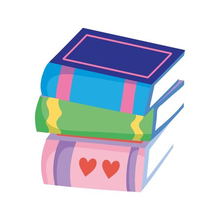 stacked books literature read learn isolated icon