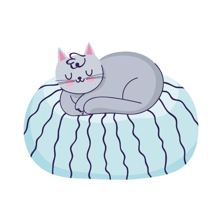 cat sleeping on cushion cartoon isolated icon vector illustration