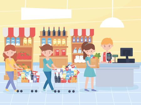 customers waiting to pay for their groceries at the cashier food hoarding excess purchase vector illustration