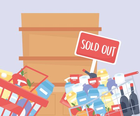 basket and cart market filled products sold out food hoarding excess purchase vector illustration