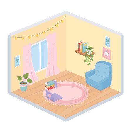 sweet home sofa plant laptop books bookshelf window lights carpet vector illustration isometric style