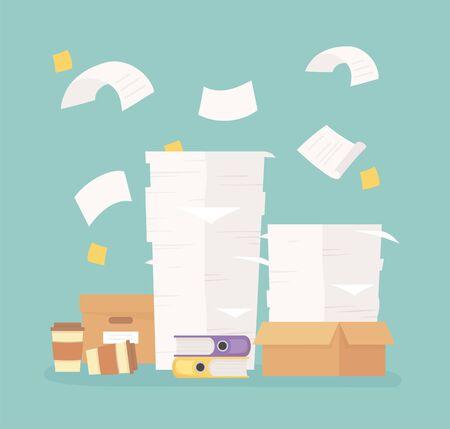 Dossiers papiers empilés boîtes bureau travail frustration stress illustration vectorielle