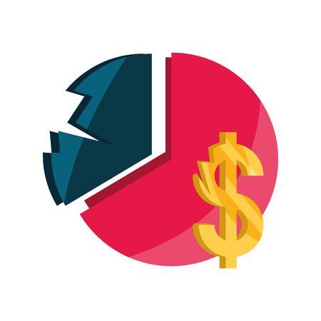 chart pie report crisis economy money stock market crash isolated icon