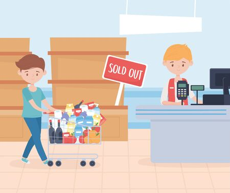 seller and customer man with cart market food hoarding excess purchase vector illustration