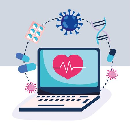 online health, laptop heartbeat medicine capsule pills covid 19 pandemic  イラスト・ベクター素材