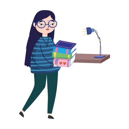 young woman carrying books and bookshelf lamp decoration vector illustration, book day