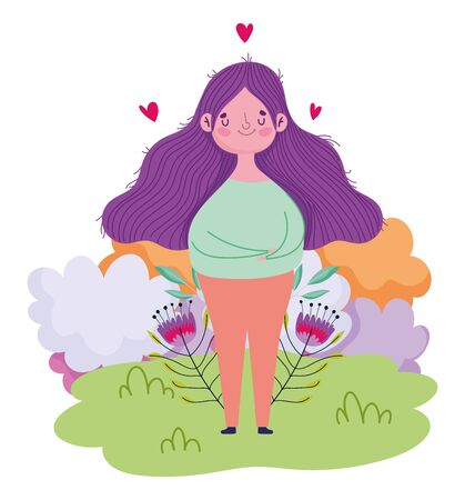 happy mothers day, cartoon woman with flowers hearts in grass