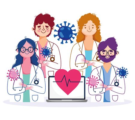 online health, staff female and male doctors with laptop and stethoscope characters vector illustration covid 19 pandemic Illustration