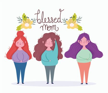 happy mothers day, blessed mom women flowers decoration card