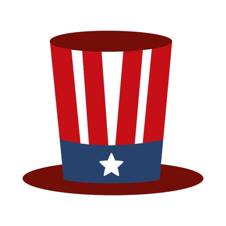 memorial day flag top hat decoration american celebration flat style icon