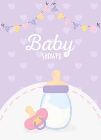 baby shower, milk bottle pacifier pennants hearts background purple