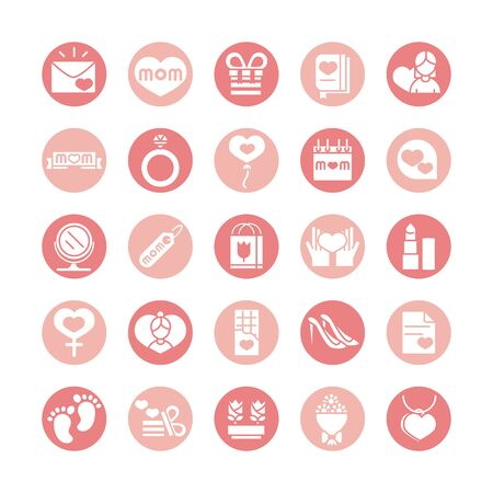 mothers day, celebration party event icons set block style