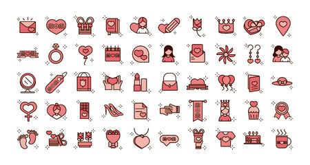 mothers day, celebration party event icons set vector illustration line and fill style icon