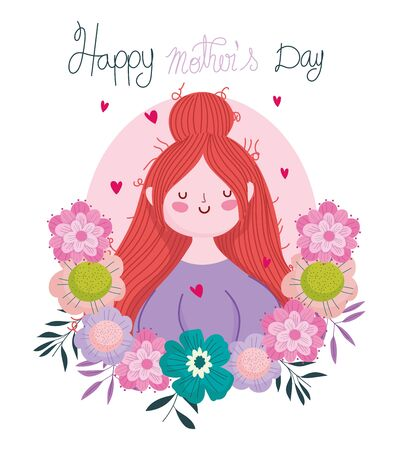 happy mothers day, woman flowers delicate handwriting lettering Ilustracja