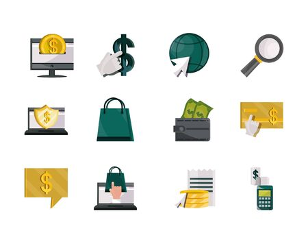 payments online, money finance commerce technology icons set vector illustration flat icon shadow 向量圖像