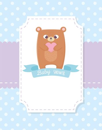 baby shower, teddy bear ribbon dotted blue background vector illustration