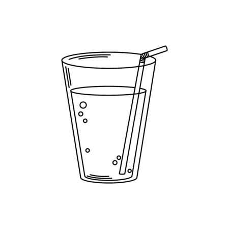 drinks fresh cold plastic cup with straw line style icon