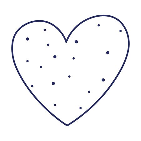 romantic dotted heart love passion feeeling isolated icon vector illustration line style