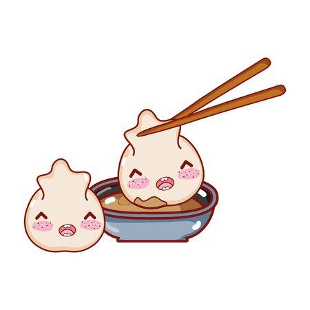 kawaii rice roll meat dumpling food japanese cartoon vector illustration  イラスト・ベクター素材