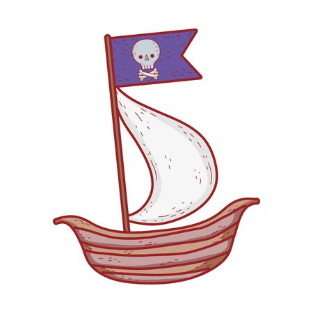 pirate ship with flag skull cartoon isolated icon design