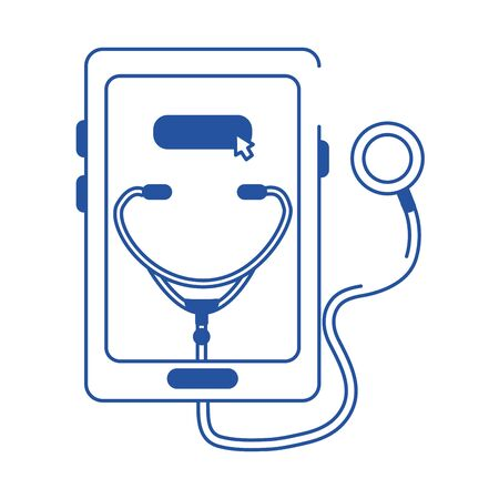 online doctor smartphone stethoscope medical diagnostic care blue line style icon vector illustration