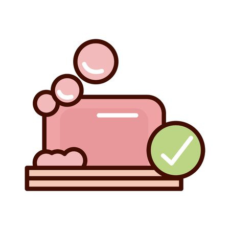 soap bar cleaning prevent spread of covid19 line and file icon 向量圖像