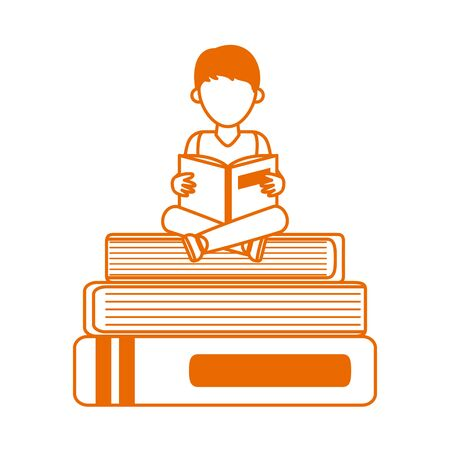 teen with open book sitting on books home education vector illustration line color style icon  イラスト・ベクター素材