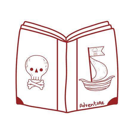 book day, pirates fantasy textbook isolated icon design vector illustration line style Ilustração