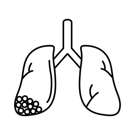 virus covid 19 pandemic lungs human illness line style icon