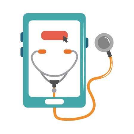 online doctor smartphone stethoscope medical diagnostic care flat style icon vector illustration