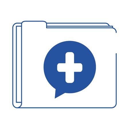 online doctor folder file medical information care blue line style icon vector illustration Ilustração