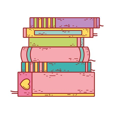 book day, textbook stacked different literature isolated icon design