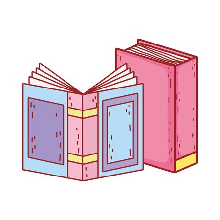 book day, open textbook learn isolated icon design vector illustration