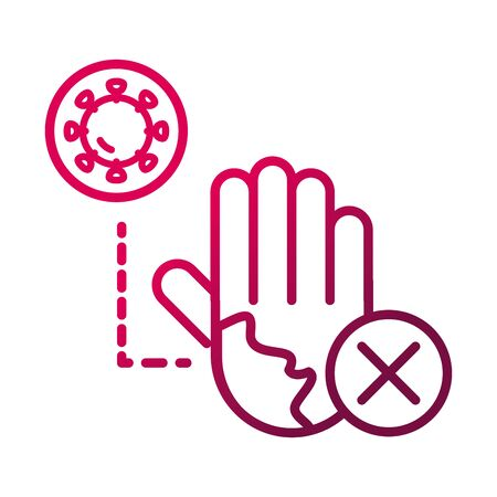 dont touch hand infected prevent spread of covid19 gradient icon Illustration