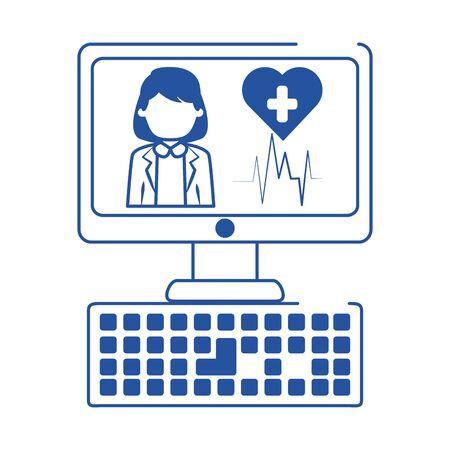 online doctor computer device support medical care blue line style icon vector illustration Ilustração