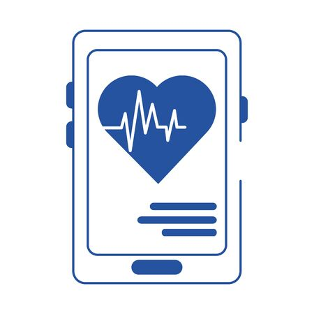 online doctor smartphone heartbeat health care blue line style icon vector illustration