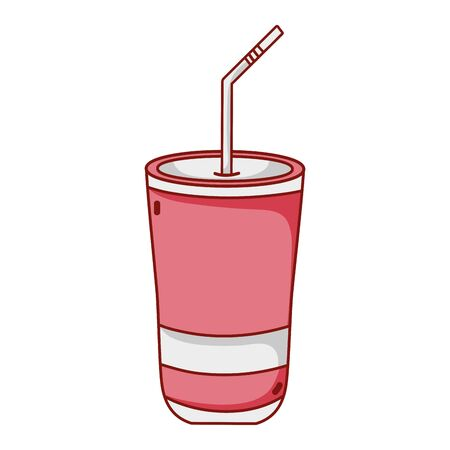 fast food disposable cup with straw cartoon isolated icon