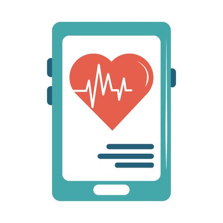 online doctor smartphone heartbeat health care flat style icon vector illustration